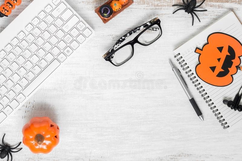 Happy Halloween Festival background concept. Desktop workspace flat lay Top view with copy space for your advertisement text. Above, art, autumn, backgrounds royalty free stock photography