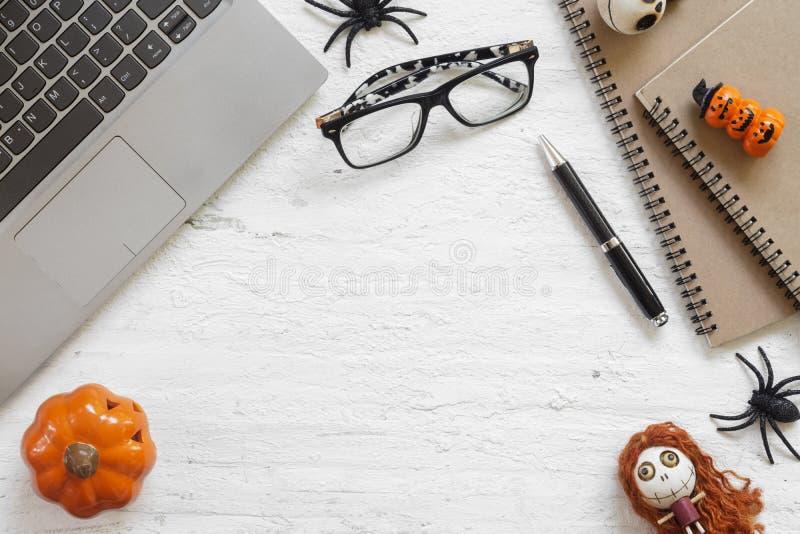 Happy Halloween Festival. Desktop workspace flat lay Top view. Happy Halloween Festival. Desktop workplace workspace flat lay Top view stock image