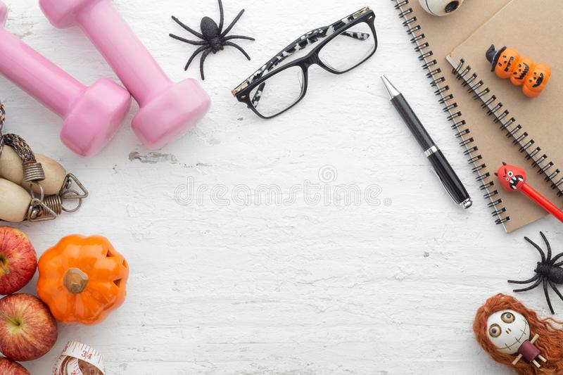 Happy Halloween Festival. Flat lay fits active healthy lifestyle. On Halloween day royalty free stock photography