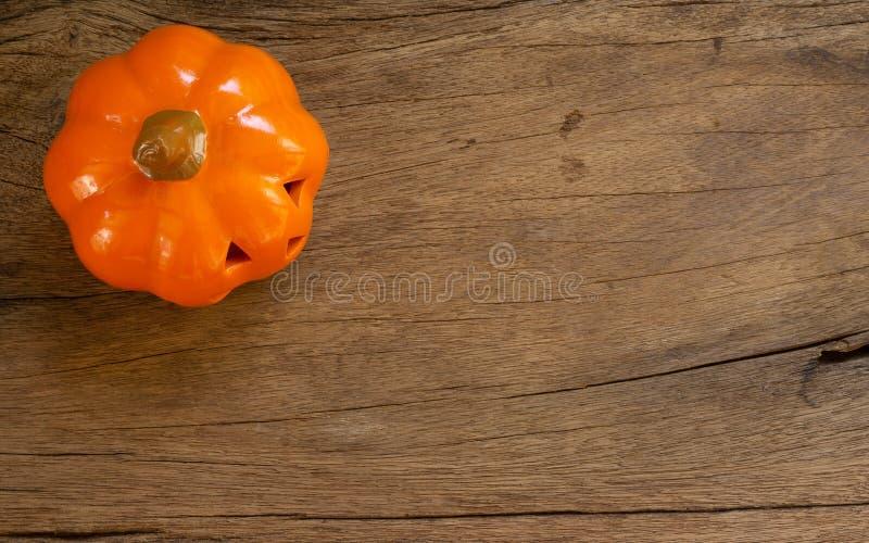 Happy Halloween Festival. Flat lay Top view halloween pumpkin t. Oys on wood royalty free stock photos