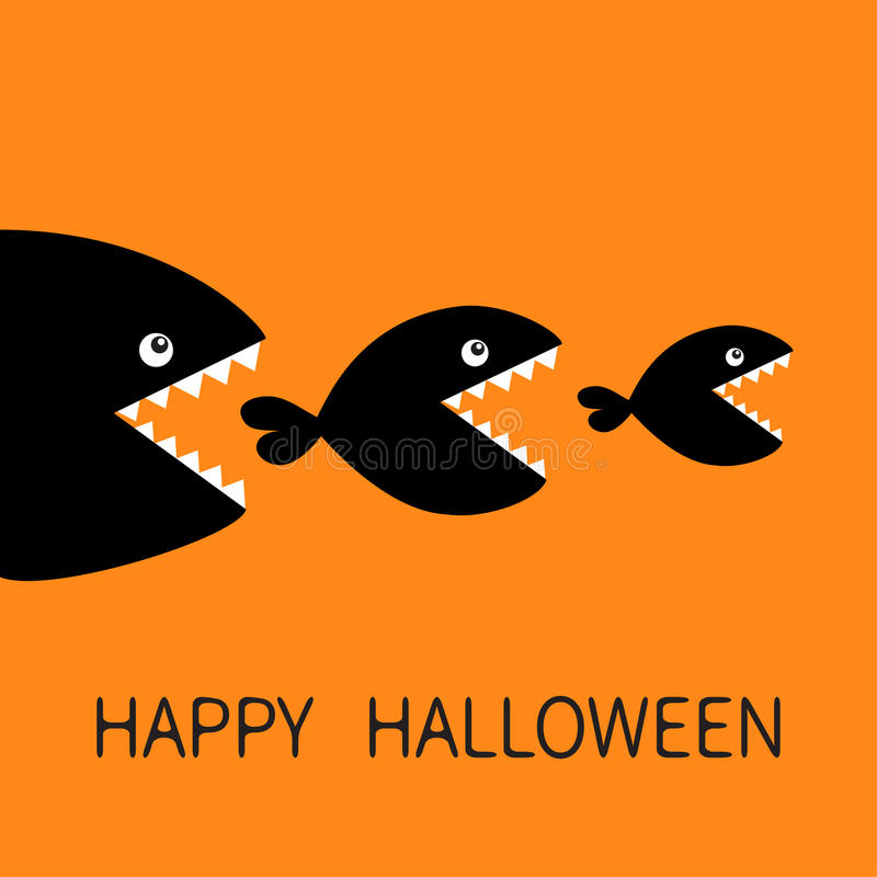 Happy Halloween. Fish monster eating each other. Three fishes. Food chain. Black color silhouette. Cute cartoon. Character set. Baby kids collection.Orange stock illustration