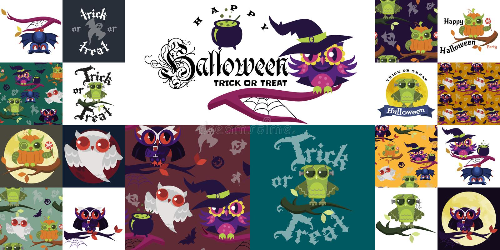 Happy Halloween flat colorful set vector illustration. Collection of mystery owls dressed in costumes of witch dracula royalty free illustration