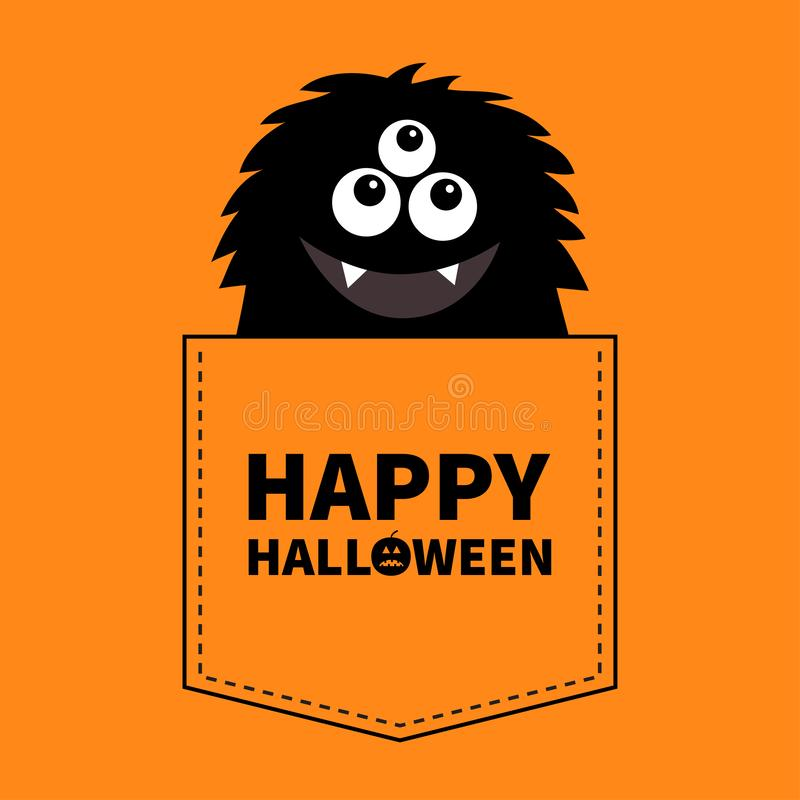 Happy Halloween. Fluffy black monster silhouette in the pocket. Hands up. Cute cartoon scary funny character. Baby collection. T-s royalty free illustration
