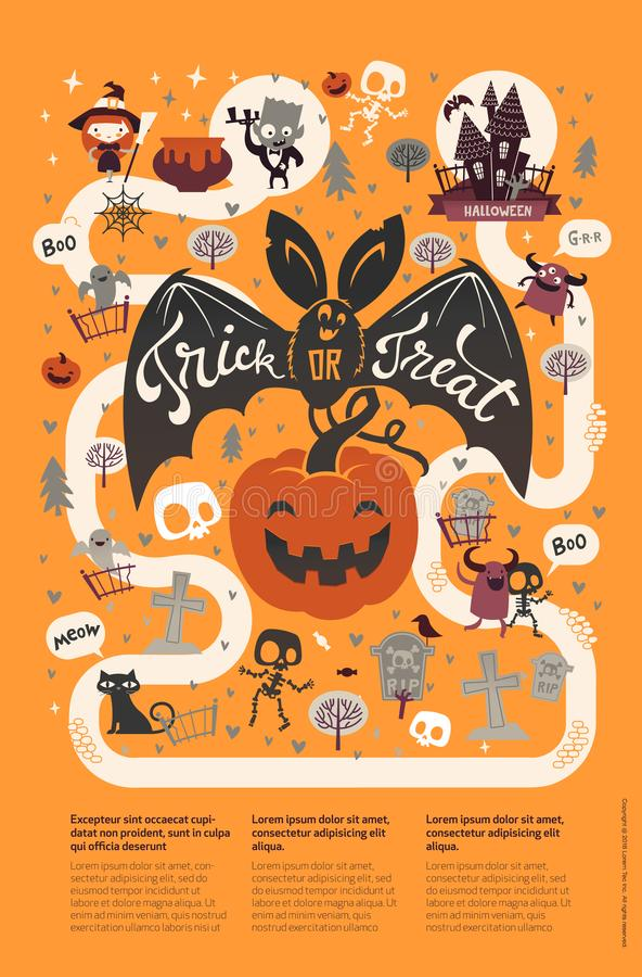 Happy Halloween flyer template in a flat style with funny and spooky cartoon characters and place for text. Vector illustration fo. R festive party invitation royalty free illustration