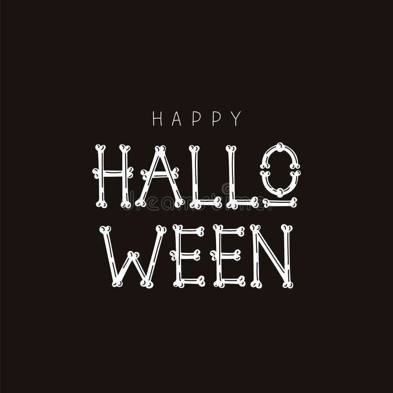Happy Halloween. Font From Bones Stock Vector - Illustration of ...