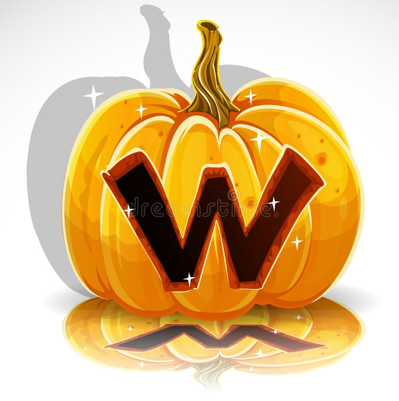 Happy Halloween font cut out pumpkin letter W stock photo