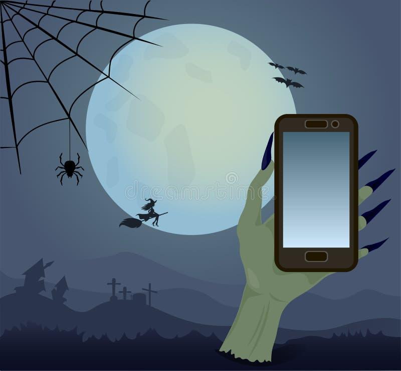 Happy Halloween and full moon vector illustration