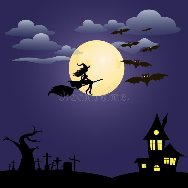 Happy Halloween and full moon stock illustration