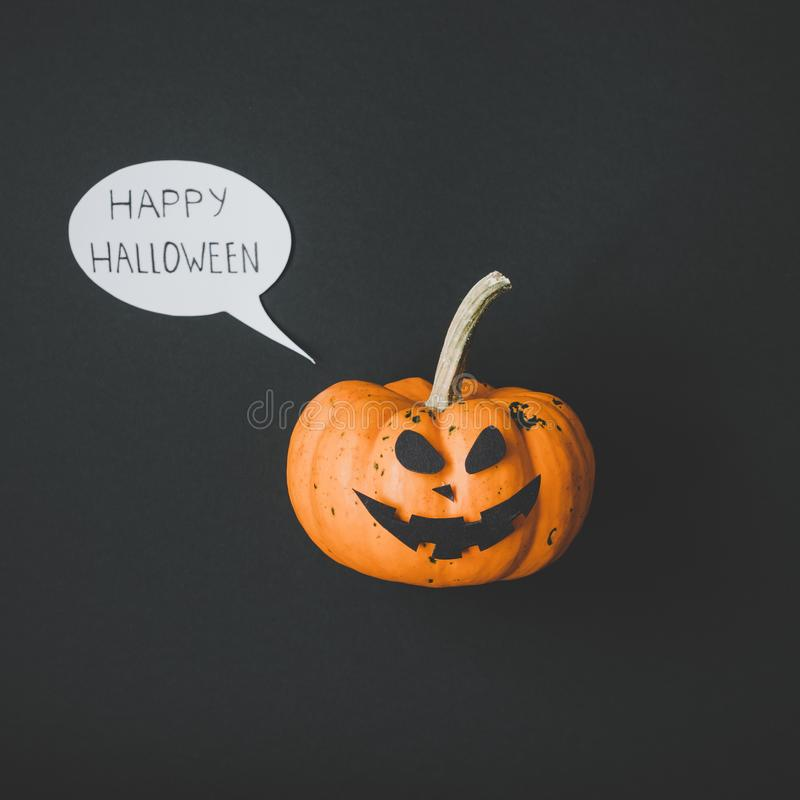 Happy halloween. Funny halloween pumpkin Jack o Lantern on black background.  stock images