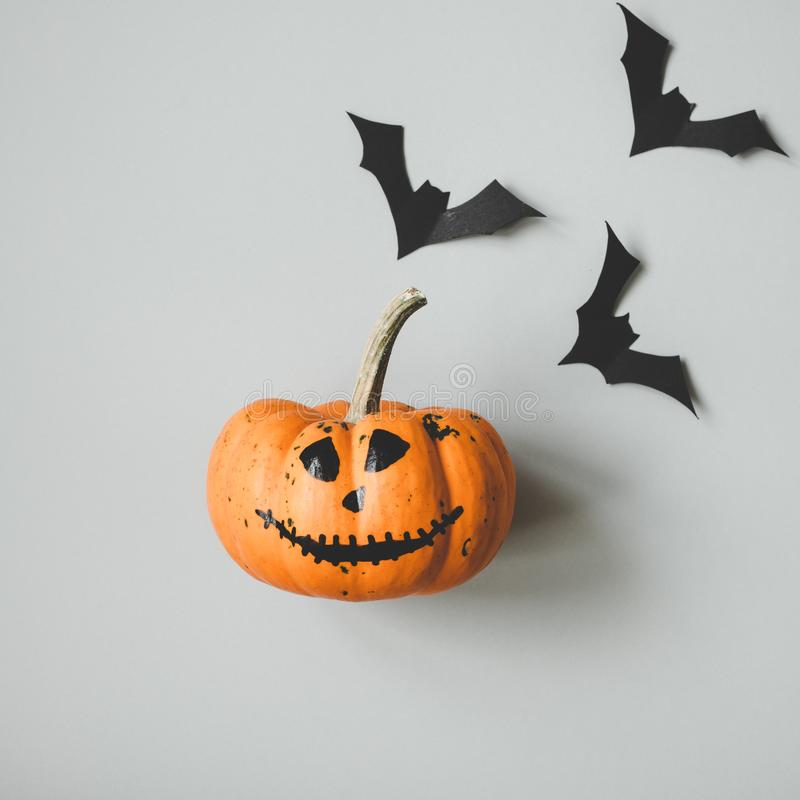 Happy halloween. Funny halloween pumpkin with paper bats on gray background.  stock images