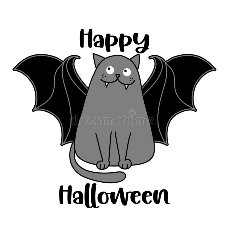Free Happy Halloween - Funny Quote Design With Cute Vampire Teeth Bat Cat Royalty Free Stock Photos - 196144718