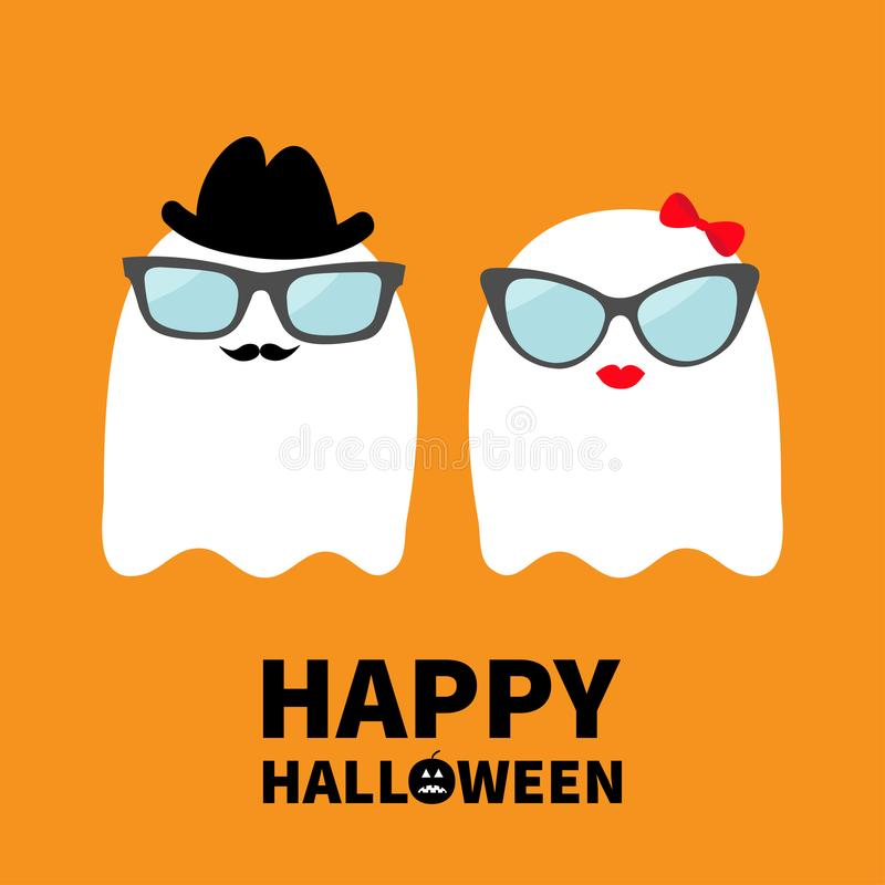 Free Happy Halloween. Ghost Spirit Family Couple With Lips, Mustaches And Eyeglasses, Hat, Bow. Scary White Ghosts. Cute Cartoon Charac Stock Photography - 123721322