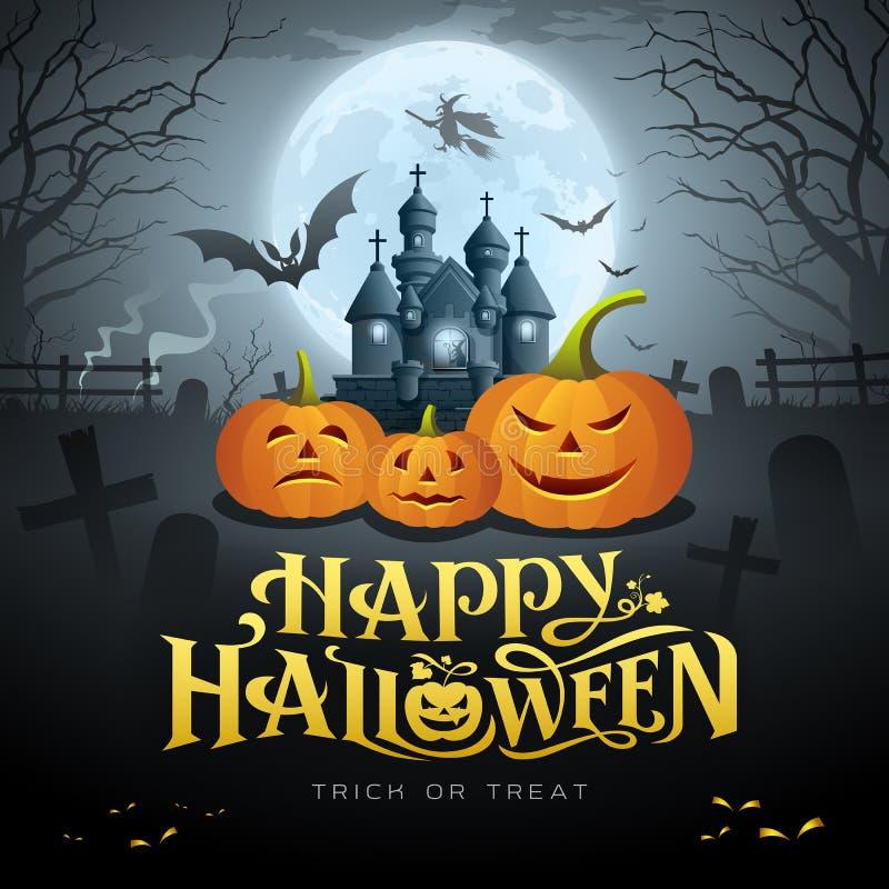 Happy Halloween gold message, pumpkin bat, witch, castle stock illustration