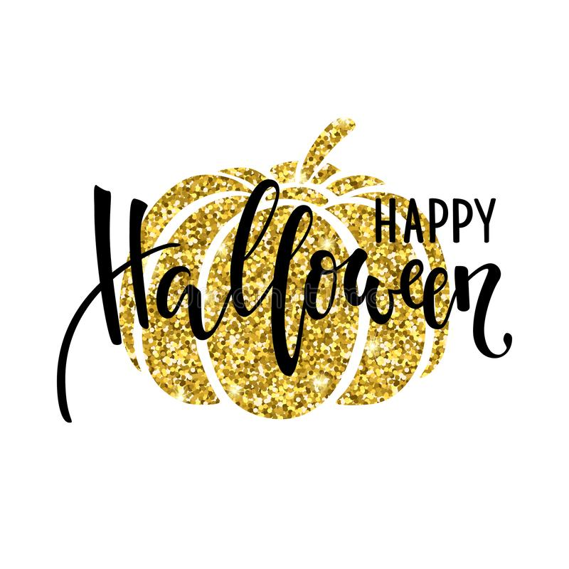 Happy halloween with gold pumpkin silhouette. Hand drawn creative calligraphy and brush pen lettering. design for holiday greeting. Card and invitation, flyers royalty free illustration