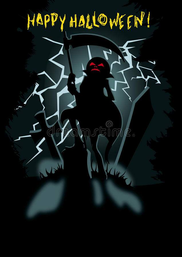 Happy Halloween greeting card background with copy. Halloween poster with siluette Pumpkin Head Jack with the scythe on the dark cemetary with lightning on the vector illustration