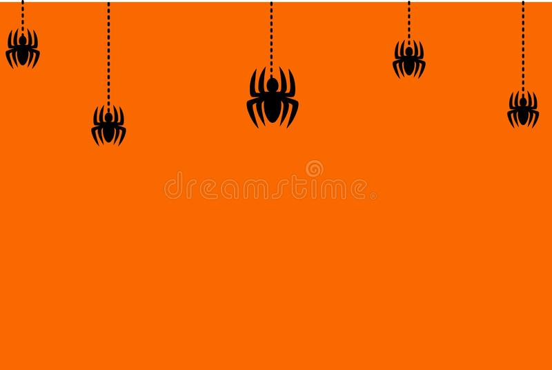 Happy Halloween greeting card . Black spiders concept stock illustration