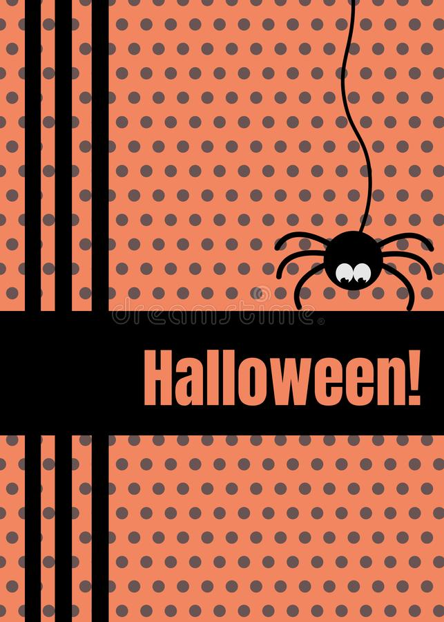 Happy Halloween greeting card with hanging on dash line web spider insect. Cute cartoon character. Flat vector design stock illustration