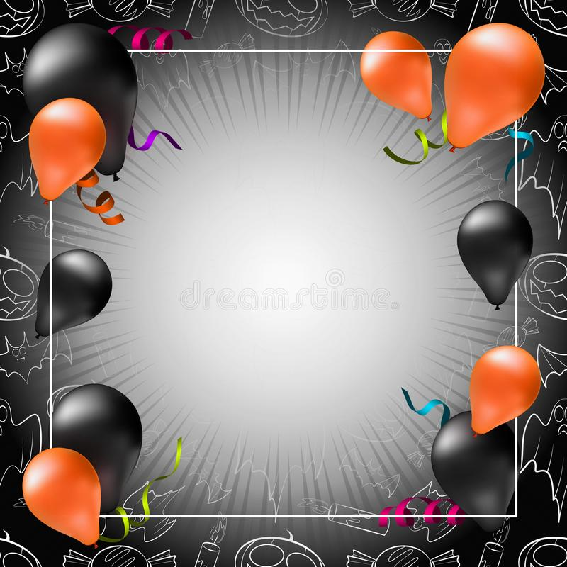 Happy Halloween greeting card, poster or banner template vector illustration