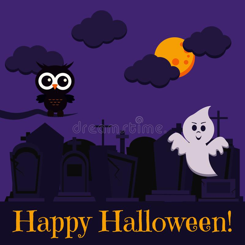 Happy Halloween greeting card with two cute characters black owl on dry branch and ghost flying near cemetery stock illustration
