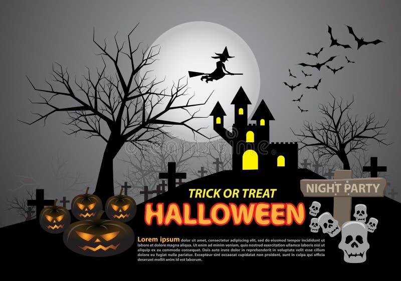 Happy halloween on grey moon light night party holiday celebration festival vector. Illustration vector illustration