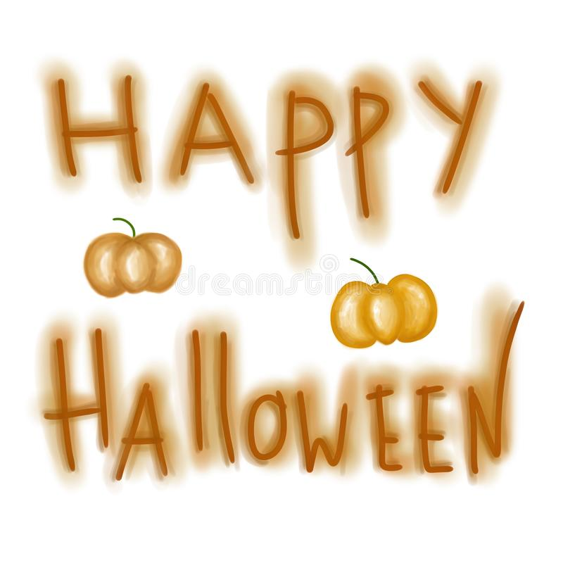 Happy Halloween hand drawn orange pumpkin greeting template stock illustration