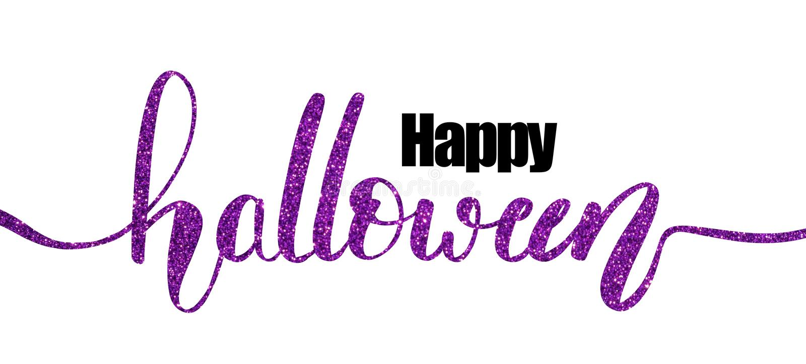 Happy Halloween hand lettering. Happy Halloween in purple glitter hand lettering for graphic resource or greeting cards stock illustration