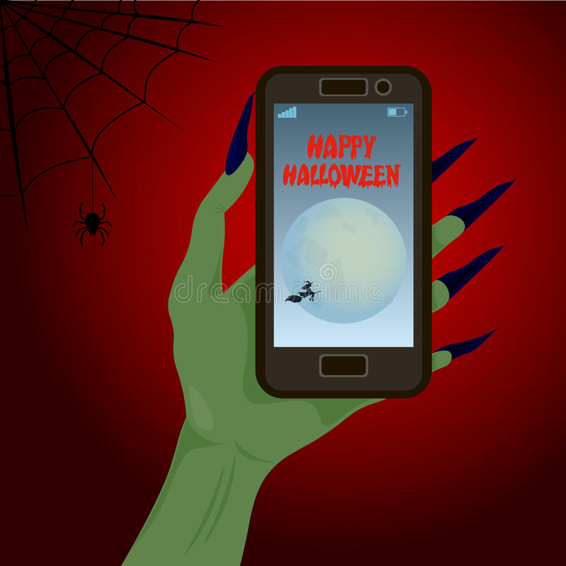 Happy Halloween and hand with phone stock illustration