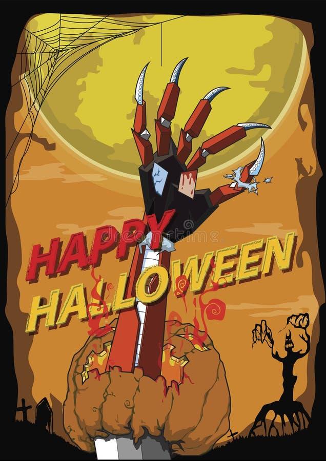 Happy Halloween hand robot killer vector background vector illustration
