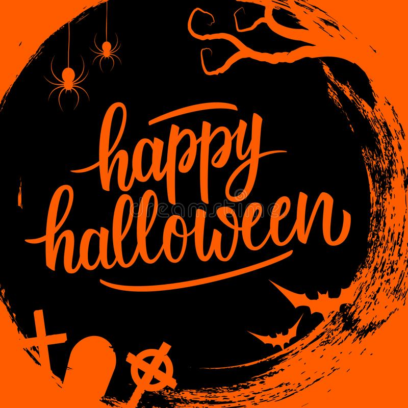 Happy Halloween handwritten lettering holiday greetings on circle brush stroke background with traditional holiday spooky symbols. stock illustration