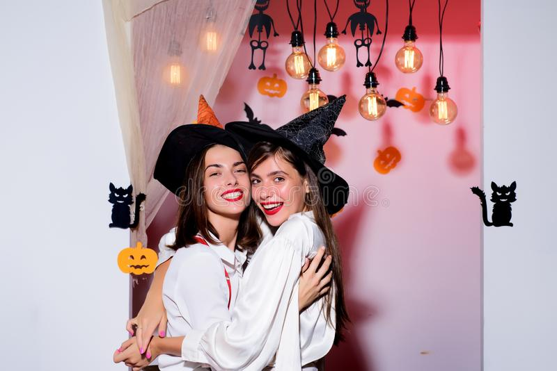 Happy Halloween. Happy thanksgiving day. Halloween emotional girlfriends hugging and enjoy positive moments. Beauty day. Concept. Friendship and friends stock images