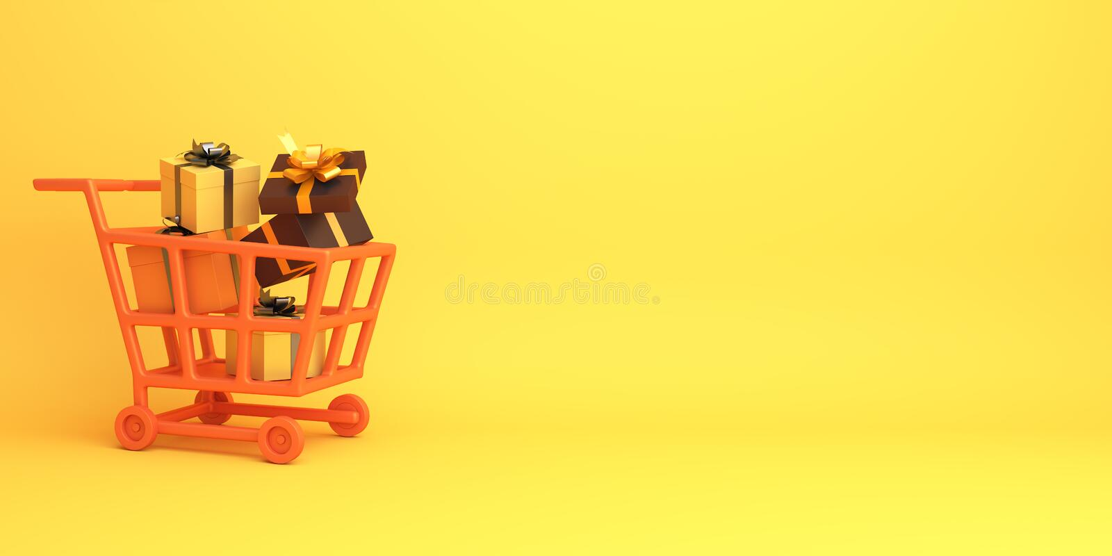Happy Halloween holiday celebration design creative concept, shopping trolley cart and gift box on orange background. 3D rendering illustration royalty free illustration