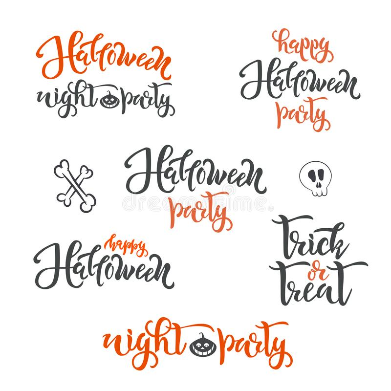 Happy Halloween holiday concept text SET. Calligraphy, lettering design. Typography for greeting cards, posters, banners stock illustration