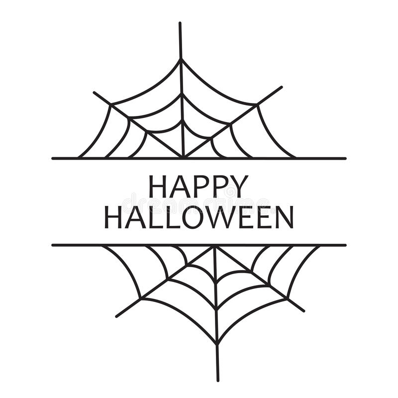Happy Halloween. Holiday greetings with gossamer on a white background. royalty free stock image