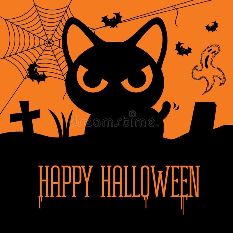 Happy Halloween. Horror black cat at grave with spider-web, flying bats and ghost. stock illustration