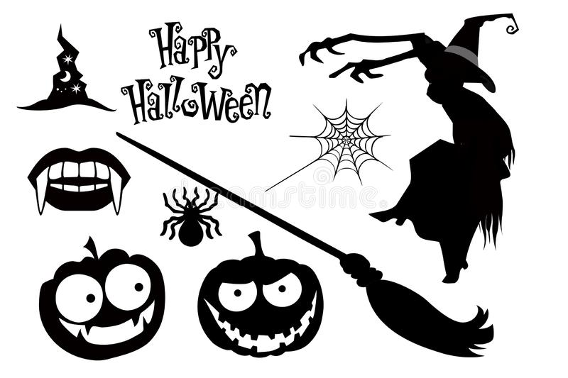 Happy Halloween icons collection on white background. Illustration design vector illustration