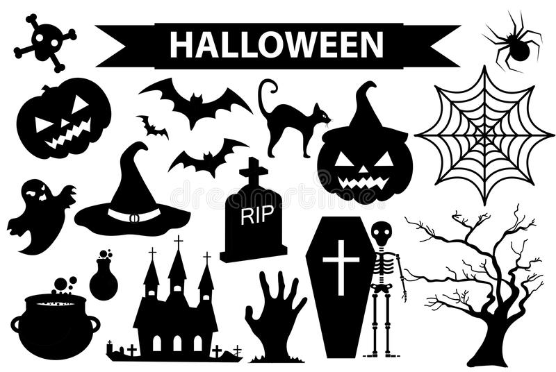 Happy Halloween icons set, black silhouette style. Isolated on white background. Halloween collection of design elements vector illustration