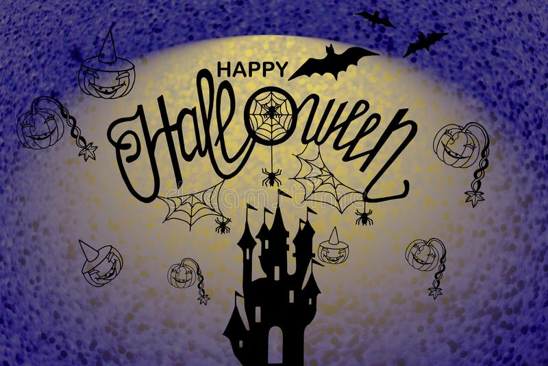 Happy halloween illustration card. Art,background,banner,calligraphy,card,celebration,dark,decoration,decorative,design,drawn,element,font,graphic,greeting royalty free illustration