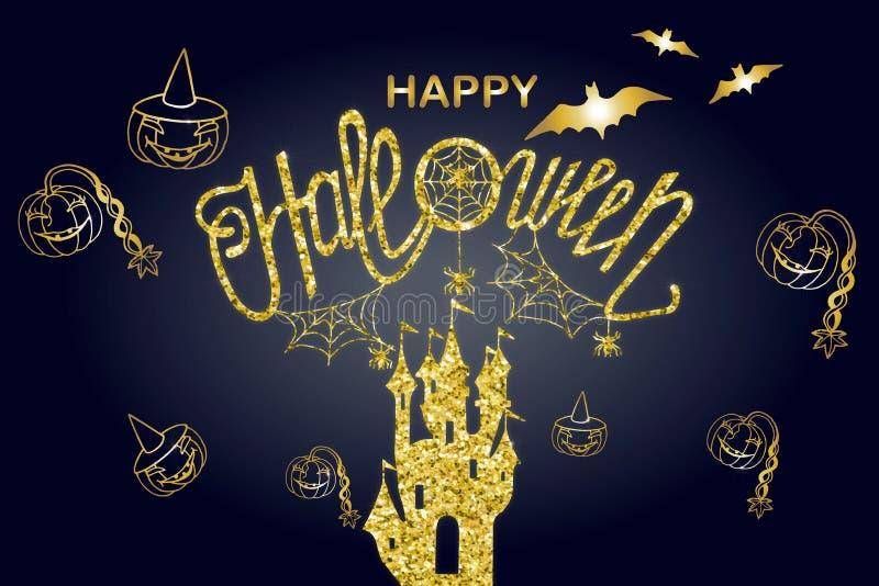 Happy halloween illustration card. Art,background,banner,calligraphy,card,celebration,dark,decoration,decorative,design,drawn,element,font,graphic,greeting vector illustration