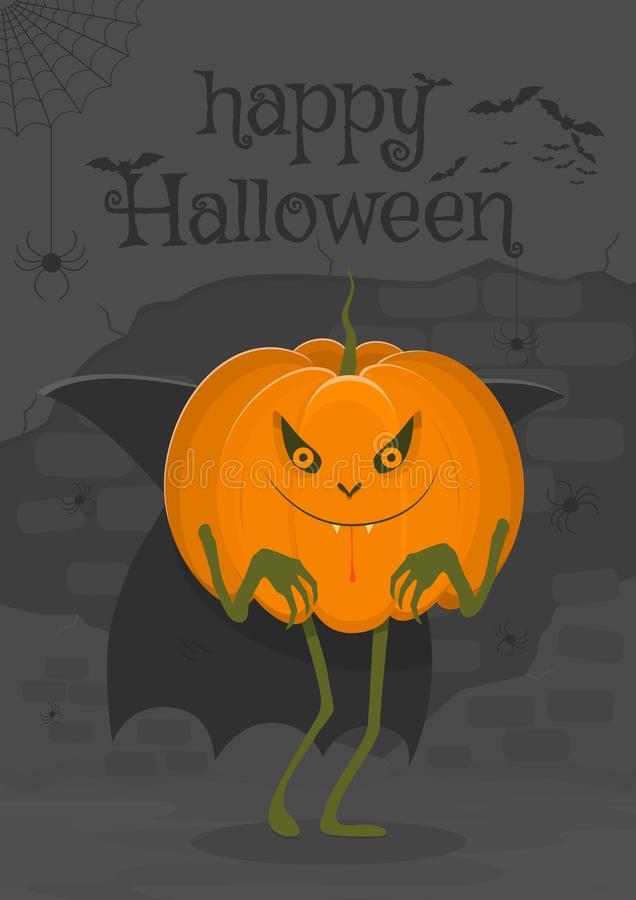 Happy halloween illustration interesting character in the form of a vampire pumpkin royalty free illustration
