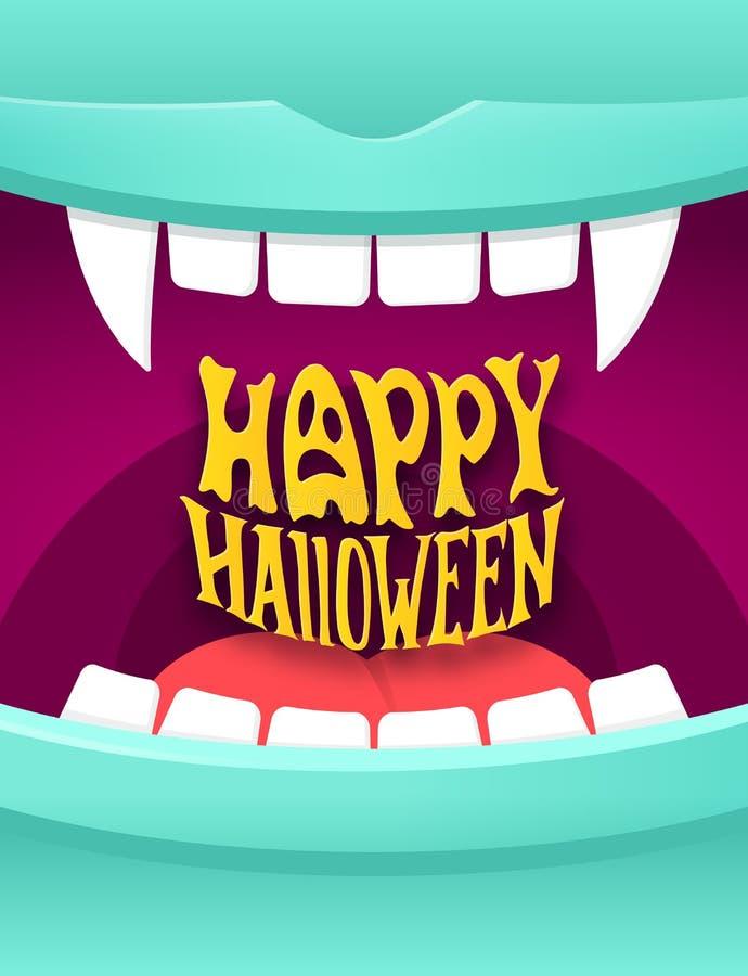 Happy Halloween illustration with vampire mouth stock illustration