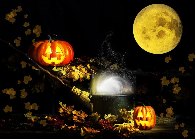 Happy Halloween Jack-O-Lanterns full Moon royalty free stock photos