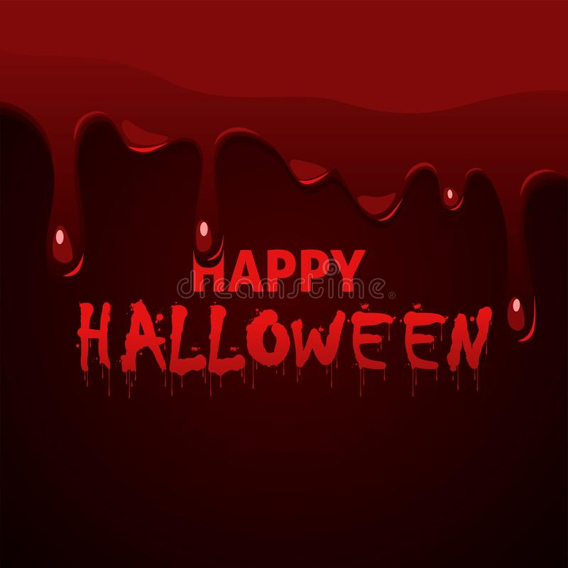 Happy Halloween lettering with dripping thick blood stock images