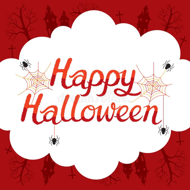 Happy Halloween Lettering On Frame Decoration. Mystery Holiday Culture Halloween Fantasy Night Party royalty free illustration