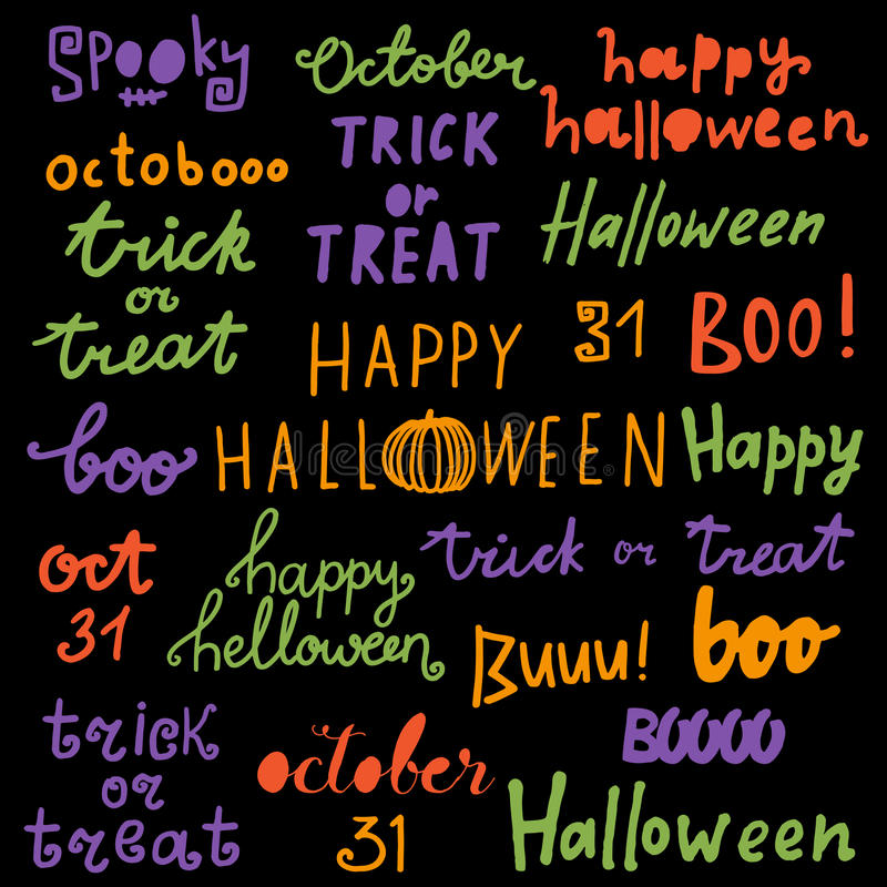 happy halloween lettering phrases quotes trick or treat boo happy halloween lettering phrases quotes trick or treat boo