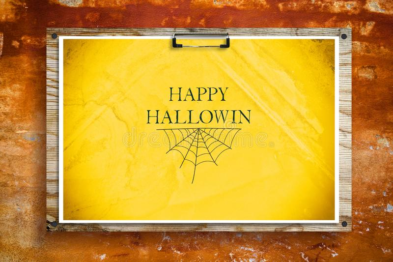 Happy Halloween lettering on a yellow background. Holiday background. Holidays. Backgrounds stock image