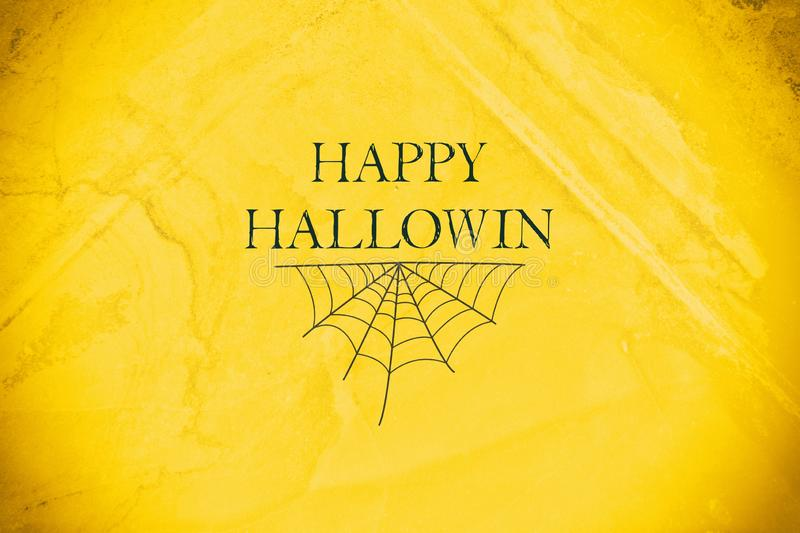 Happy Halloween lettering on a yellow background. Holiday background. Holidays. Backgrounds vector illustration
