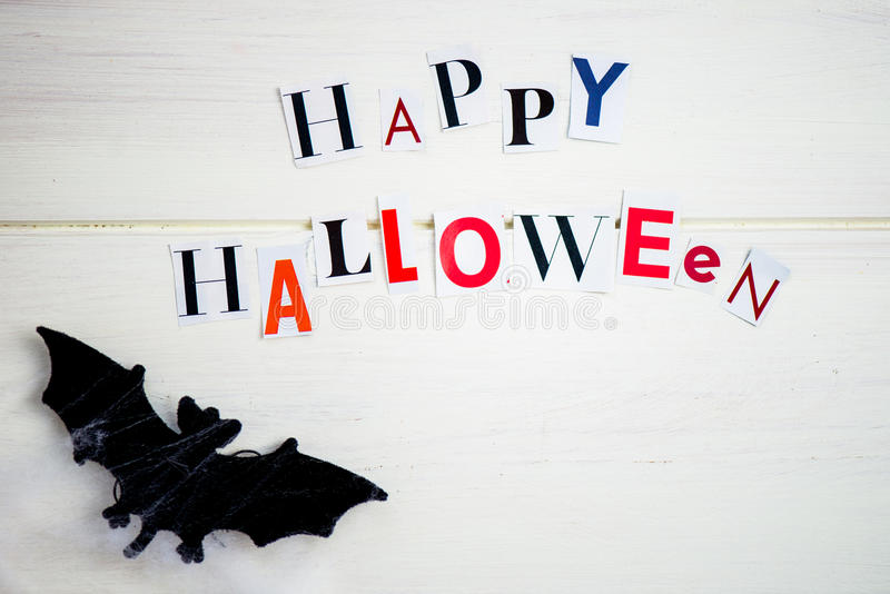 Happy halloween letters cut out from the magazines bats web an download happy halloween letters cut out from the magazines bats web an stock image spiritdancerdesigns Images