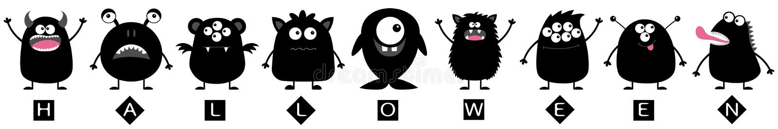 Happy Halloween line. Monster big set. Black silhouette. Cute cartoon colorful scary character. Eyes, tongue, hands up. Boo spooky. Funny baby collection royalty free illustration