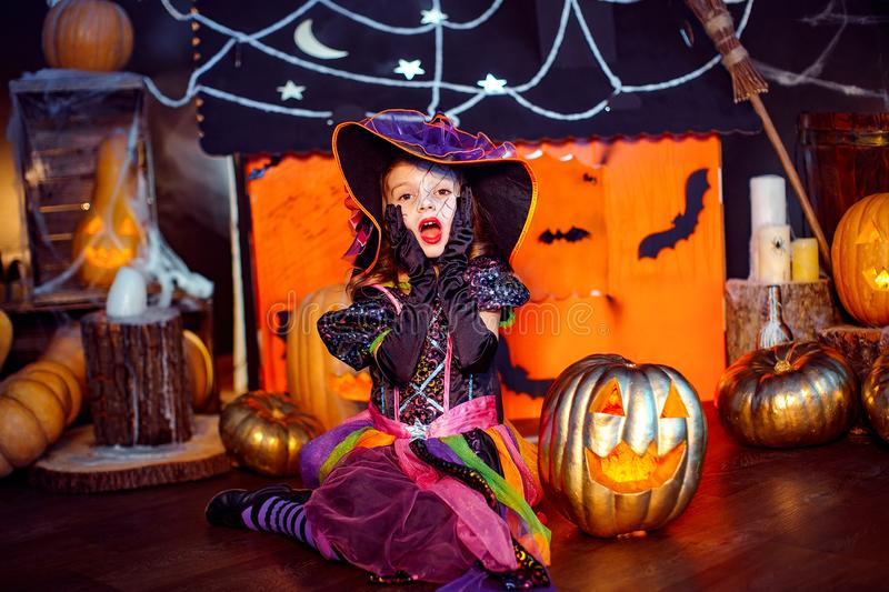 Happy Halloween. A little beautiful girl in a witch costume celebrates with pumpkins stock photo