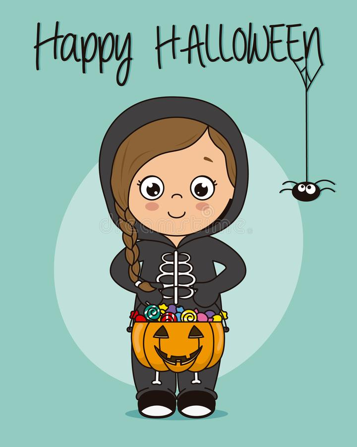 Little girl dressed as a skeleton with pumpkin and candies royalty free illustration